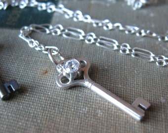 Key Pendant Sterling Silver Bright finish with white topaz ready to ship