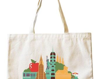 City Living Tote bag - New York City - New York - Market bag - Reusable bag - Canvas tote - Shopping bag - Shoulder bag - Organic