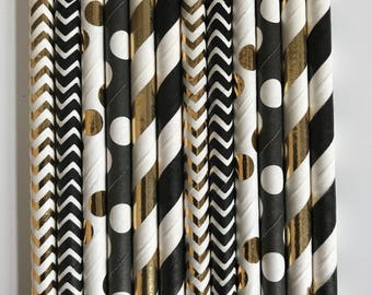 Art Deco- Roaring 20s- Gatsby Wedding Straws! 100 Black and Gold Foil Party Straws that will add that pop to your party