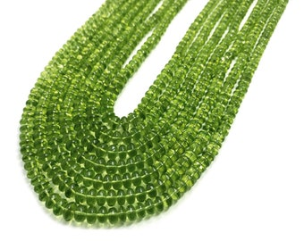 7 Strand Necklace Natural Peridot Plain Roundel