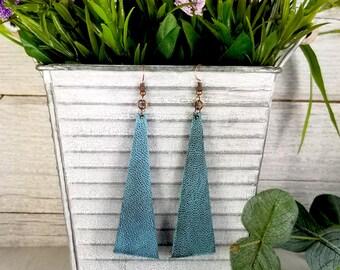 Long Funky Triangular Leather Earrings-Vintage Agave Distressed - Leather Earrings- Trendy Earrings-Designer Earrings