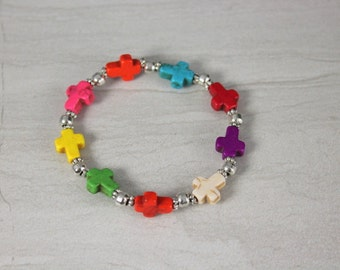 Adult and or Child Multi Color Stone Cross Bracelets