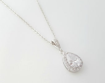 Crystal Bridal Necklace, Teardrop Bridal Pendant Necklace, Cubic Zirconia, Wedding Necklace, Bridesmaid Necklace, Bridal Jewelry, Emma