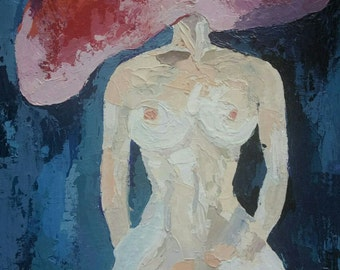 """Name of the painting """"Headless woman"""".  Oil painting on canvas."""
