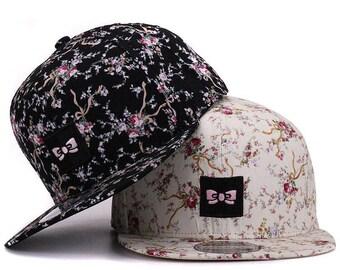 Flower Garden Snapback - peak adjustable cap hipster flowers floral ditsy black patched bow