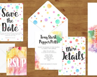 Colourful Rainbow Watercolour Wedding Invitations Stationery Set - Printed or Digital Download - Rainbow Wedding - Printable Wedding