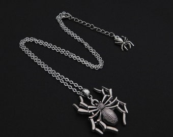Silver Spider Necklace Pendant - Halloween