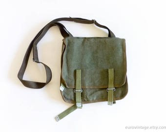Vintage Military Bag Canvas Military Green Messenger Army
