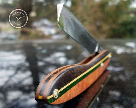 Colorful Shave Ready Straight Razor with Restored Vintage Blade
