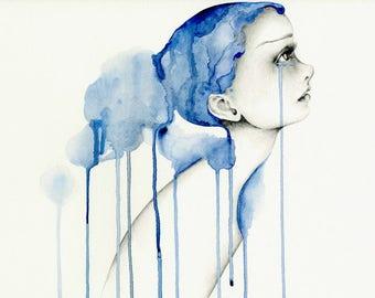 Watercolor Painting of a Girl Fine Art Giclee Art Print of my Original Watercolor Painting Illustration Blue Hair Sad Girl Original Art Blue