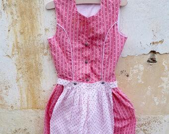 Vintage 1970/70s Authentic Girl Dirndl Tyrol Austria German Floral Dress & apron  size 4 years