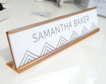 """Custom Geometric Nameplate """"Samantha"""" - Personalized Desk Name Plate Sign Decor - Office Accessories - Wall Mount Option"""