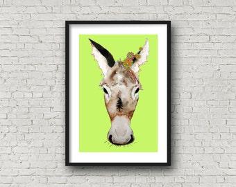 Donkey with Flowers - Carnival Donkey - PRINT