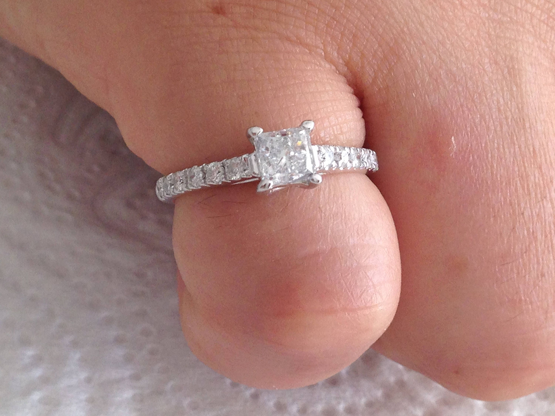 Certified 0.95 CT Princess cut & Round cut Diamond engagement