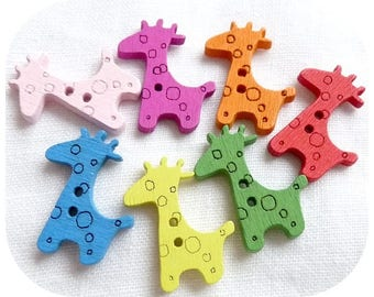 Set of 7 wooden giraffe button multicolor child baby couture