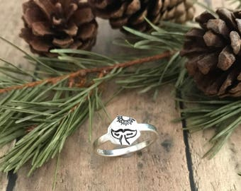 Whale Tail and Sun Ring, Sterling Silver, Hand Stamped, Whale Tail and Sun Hexagon Ring