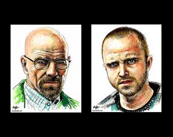 """Prints 11x14"""" - Walter White and Jesse Pinkman - Breaking Bad Heisenberg Bryan Cranston Aaron Paul Meth Drugs Pop Art Lowbrow Art Chemistry"""