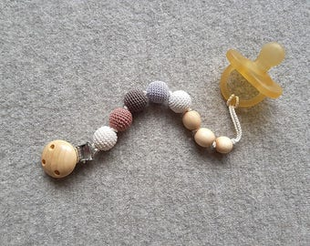 Pacifier Clip - Gray&Beige, Juniper Wood - Dummy Chain, Teething Clip, New Baby Gift - PC18