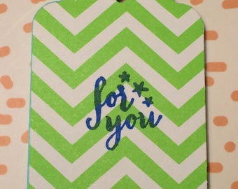 "Lime Green Chevron ""For You""  Paper Gift Tag"