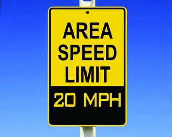 20 MPH Speed Limit Aluminum Sign