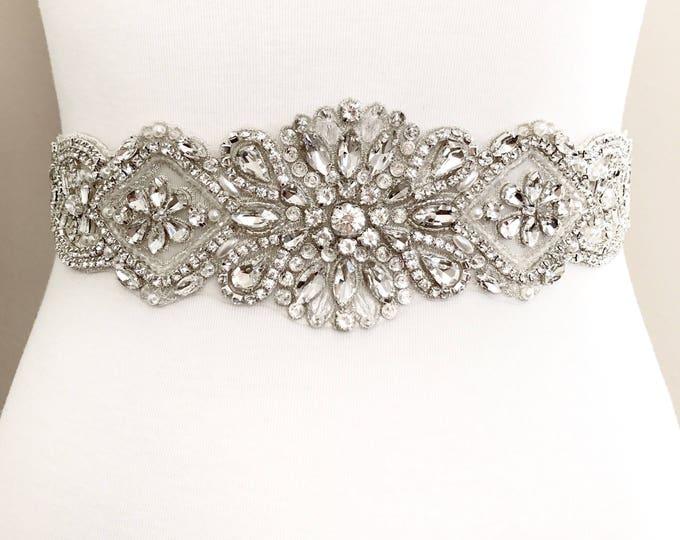 Silver crystal Bridal Belt, Bridal Sash, Wedding Belt, Wedding Sash Rhinestone prom belt B34