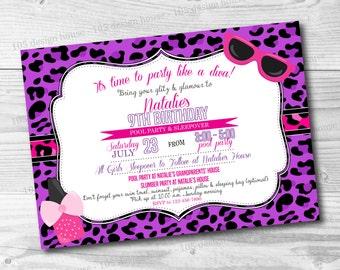 Diva Invitation Printable - Diva Party Invitation - Cheetah Invitation - Cheetah Invite - Sleepover Invitation - Customizable