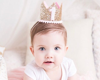 1st Birthday Girl Outfit   1st Birthday Crown Headband   1st Birthday Hat    1st Birthday Party Hat   1st Birthday Girl Outfit  