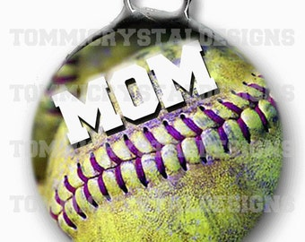 """1.5"""" Softball MOM Soldered Art Collage Charm (also comes with no wording)"""