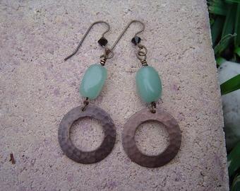 Light Green Aventurine Dangle Earrings with Hammered Brass Rings