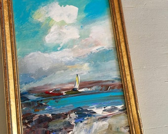 Beach Study  Painting- Sailing - Framed- Painting - Original Painting-  9 x 6-1/4 approx. inch - including Frame - Fine Art