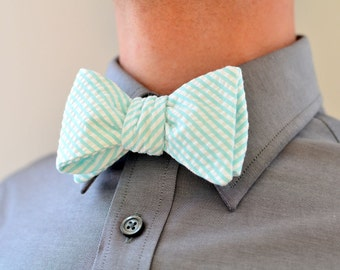 Men's Bow Tie in Carolina Blue Seersucker- mint mens freestyle wedding custom groomsmen bowtie neck self tie striped