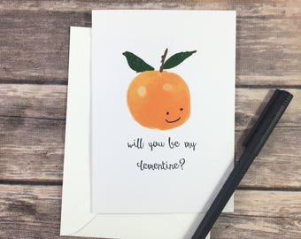valentine card - be mine card - clementine card - love card - romance card - cute romantic card - fruit card - boyfriend card - girlfriend