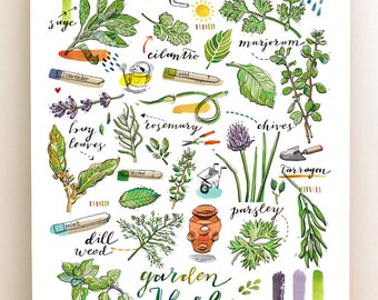 Herbs print. Garden. Food illustration. Kitchen decor. Spring. Cooking. Gardening. Green. Earth. Organic. Seasonal.