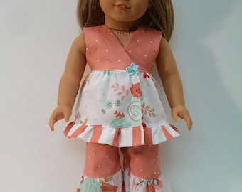 Peach two piece outfit for your American girl doll