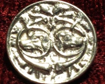 Double Greyhound or Whippet Dog Head Historic Lead Free Pewter Button