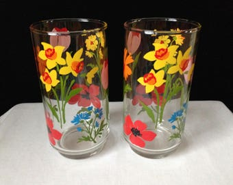 Libbey - Glassware - Tumblers - Sring Bulb Flowers - Multicolored - Set of Two