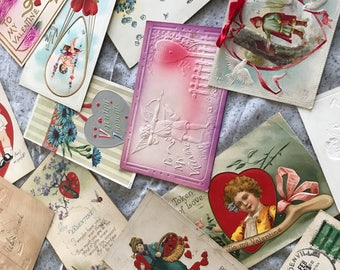 Vintage Valentines  Day postcards - package of 15- assorted--from the 1920 to 1940s