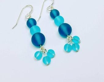 Sea Glass Earrings, Beach Earrings, Sea Glass Jewelry, Beach Glass Earrings, Blue Earrings, Blue Dangle Earrings, Beach Earrings, Tropical