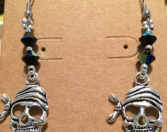 Skull Pirate Drop Earrings