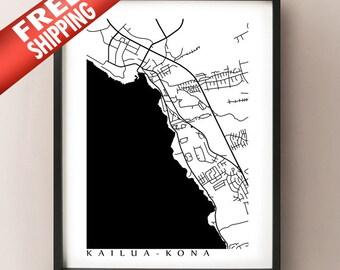 Kailua-Kona Map Print - Black and White - Hawaii poster