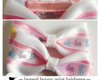 Bunny print layered hair bows