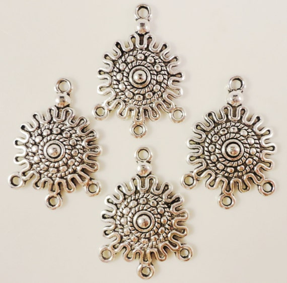 Chandelier Earring Findings 26x19mm Antique Silver Tone Metal Earring Connector Lead Free Jewelry Making Jewelry Findings 3 Pairs (6pcs)