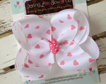 Valentine Bow -- white bow with pink hearts -- boutique bow for Valentines' Day
