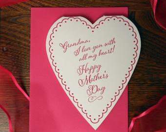 letterpress grandma you warm my heart happy mother's day greeting card heart shaped doily mom i love you