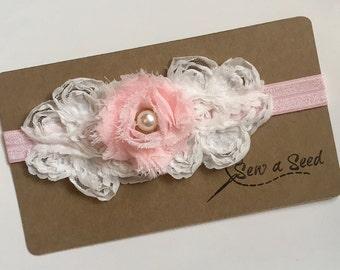 Pink and White Headband, Baby Headband, Flower Headband, Pearl Headband, White Flower Headband, Pink Flower Headband