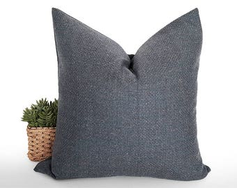 Blue Grey Pillow, Textured Pillow, Blue Gray Pillow Covers, Mans Wool Pillows, Rustic Cushions, Rust Cream Flecks, Speckled, 18x18, 20x20