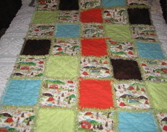 Flannel Camping Trailer Theme Rag Quilt
