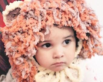 2T to 4T Lion Hat Yellow Orange Brown Crochet Lion Bonnet Childrens Lion Beanie Unisex Girl Boy Lion Costume Kids Photo Prop
