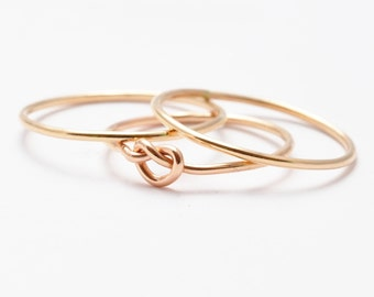 Birthday Gifts for Sister: Yellow Gold Filled Knot Ring, Gold Bands