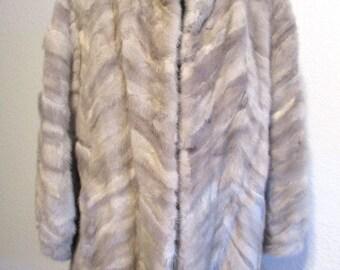 Vintage Mink Sable Fur Coat Genuine Fur Jacket Striped Multicolor Fur Coat Mr. Walters Younkers
